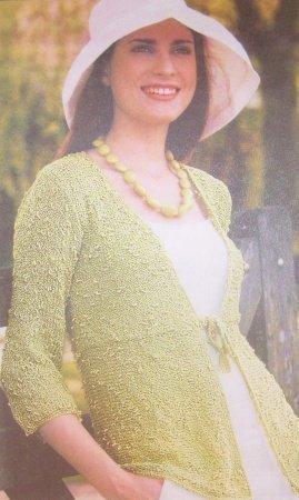 Женский летний жакет с завышенной талией и рукавом три четверти